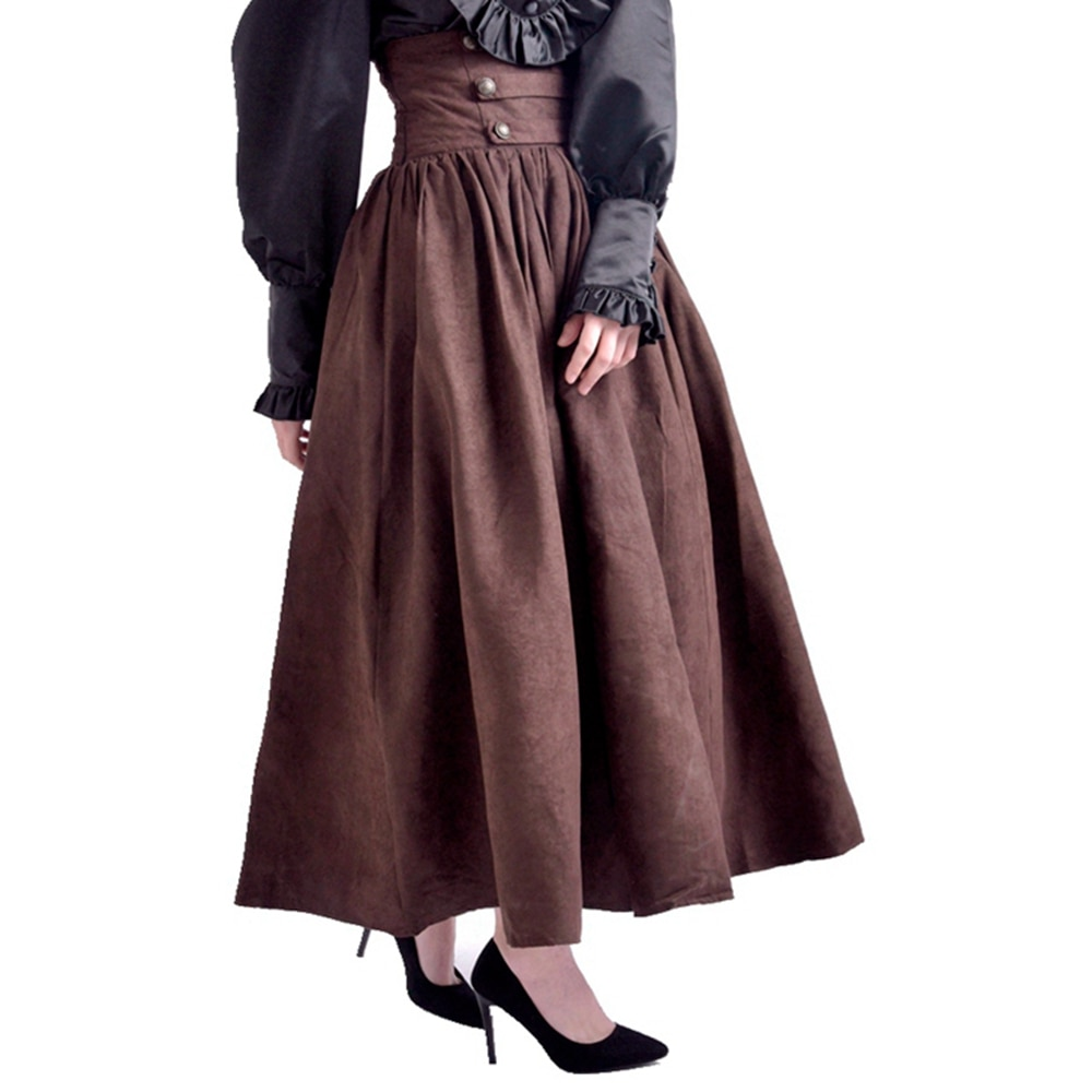 Gothic Steampunk Skirts Women Vintage Victorian Renaissance Cosplay High Waist Double-breasted Long Walking Skirt 1