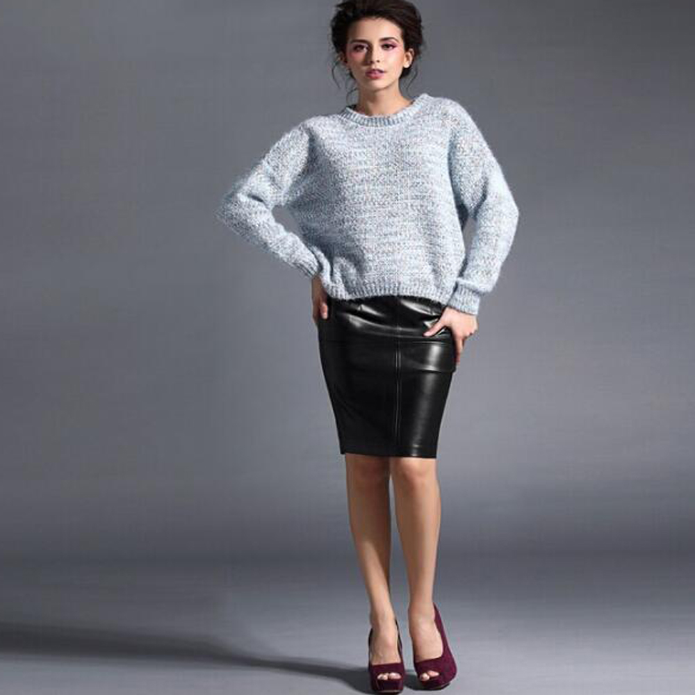 Women Leather Skirt 19 Autumn Winter Women pencil Faux Leather skirts Sexy Pu leather Skirt Black pink office Lady skirts 3