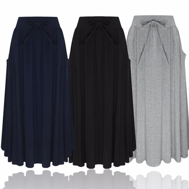 ZANZEA Women Long Skirt 19 Elegants Elastic High Waist Pockets Pleated Skirts Casual Solid Loose Mid-calf Skirts Plus Size 2XL 1