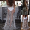 Summer Sexy Beachwear Rhinestone Long Sequin Skirt Loose Side Split Mesh See Through Gold Maxi Glitter Skirt Sparkle Female