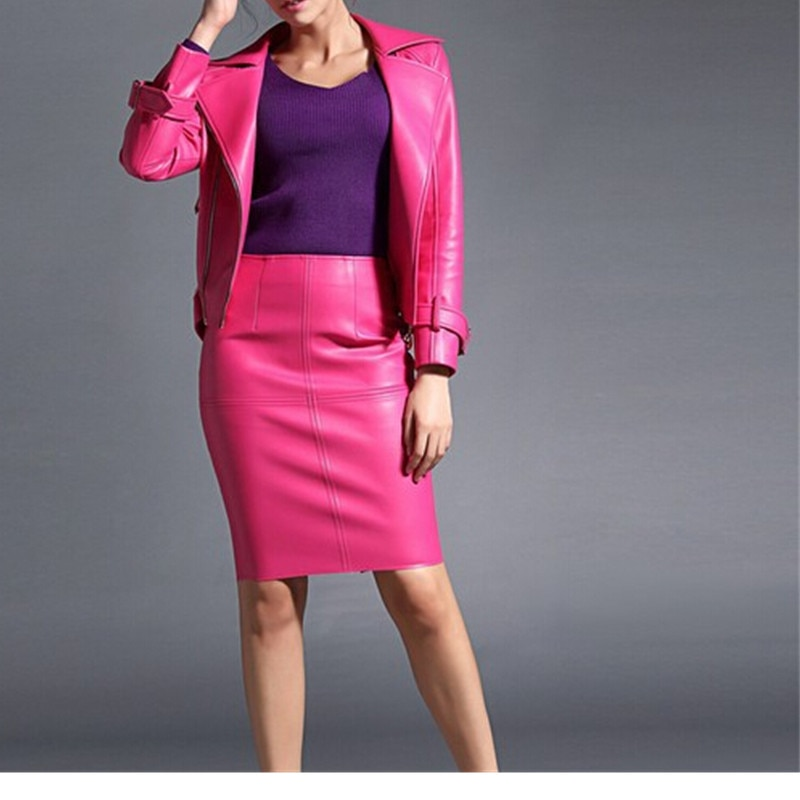 Women Leather Skirt 19 Autumn Winter Women pencil Faux Leather skirts Sexy Pu leather Skirt Black pink office Lady skirts 2
