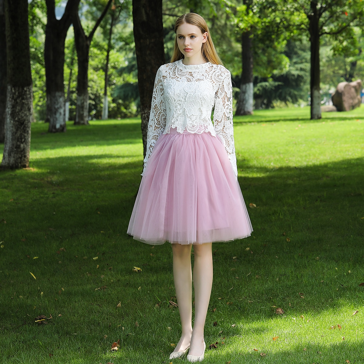7 Layers Midi A Line Tutu Tulle Skirt High Waist Pleated Skater Skirts Womens Vintage Lolita Ball Gown Summer 19 saias jupe 2