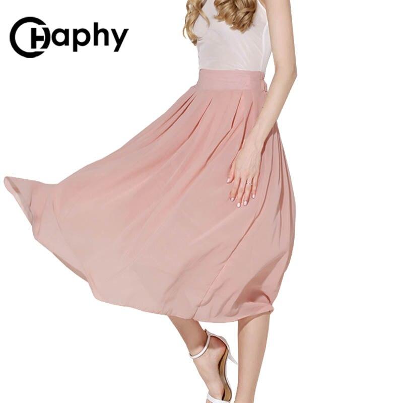 Solid Long Chiffon Skirts 18 Summer All-match Pink Maxi Pleated Chiffon Skirt High Waist A Line Chiffon Pleated Maxi Skirts 1