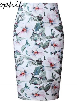 Neophil 19 Elegant Floral Print Ladies Winter Midi Pencil Skirts High Waist Fashion Plus Size Slim Bodycon Office Saia S0417