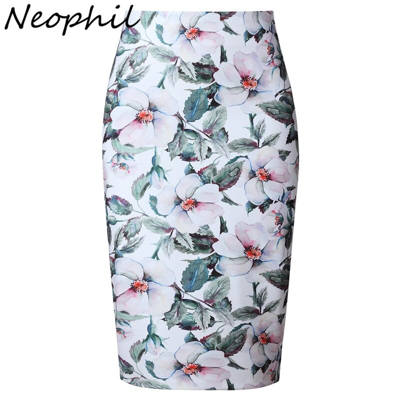 Neophil 19 Elegant Floral Print Ladies Winter Midi Pencil Skirts High Waist Fashion Plus Size Slim Bodycon Office Saia S0417