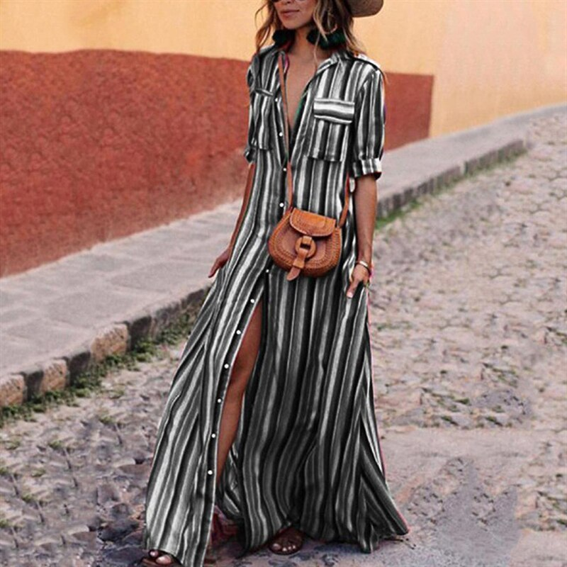 Women Long Maxi Dress Boho Half Sleeve Striped Dress Female Button Turn Down Collar Casual Dresses 18 Autumn Clothing 2