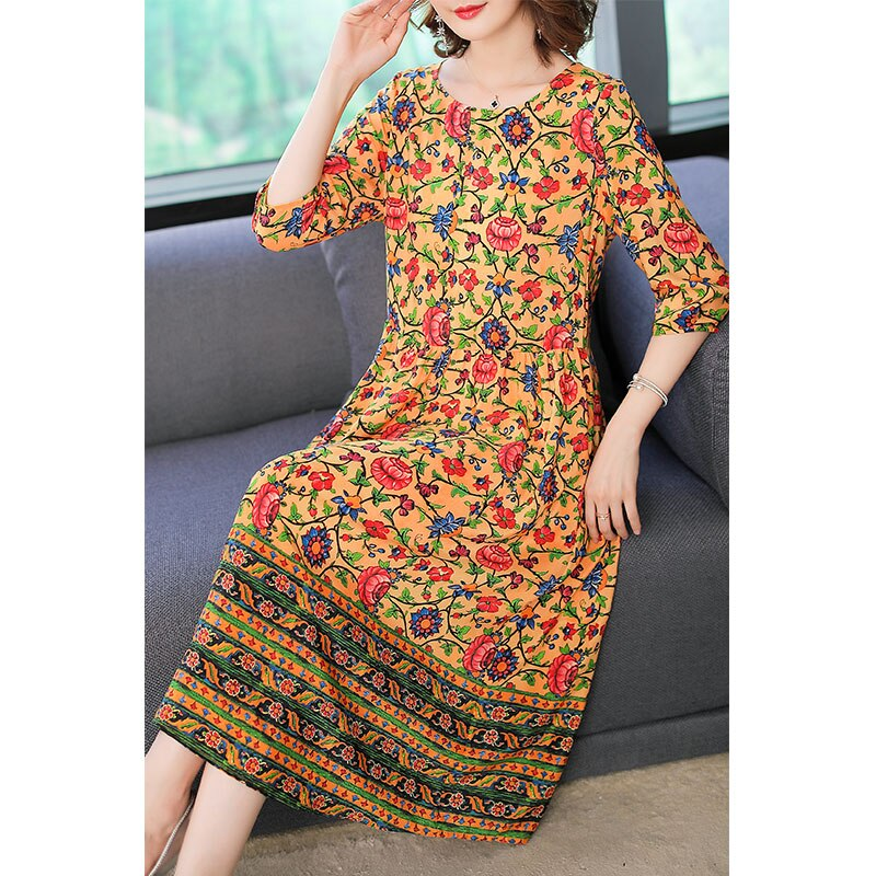 Imitate Real Silk Dress Sweet Women Clothes New Summer Fashion Half Sleeved Print Dresses Lady's Casual Party Dress 2