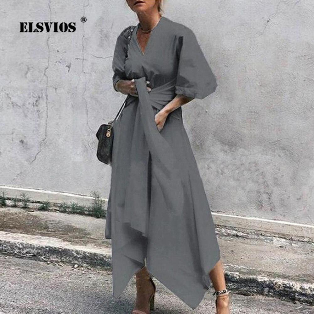 ELSVIOS 5XL Elegant Ladies Dresses Plus Size V-neck Half Sleeve Autumn Dress Women Lace-up Solid Irregular Party Dress Vestidos 1