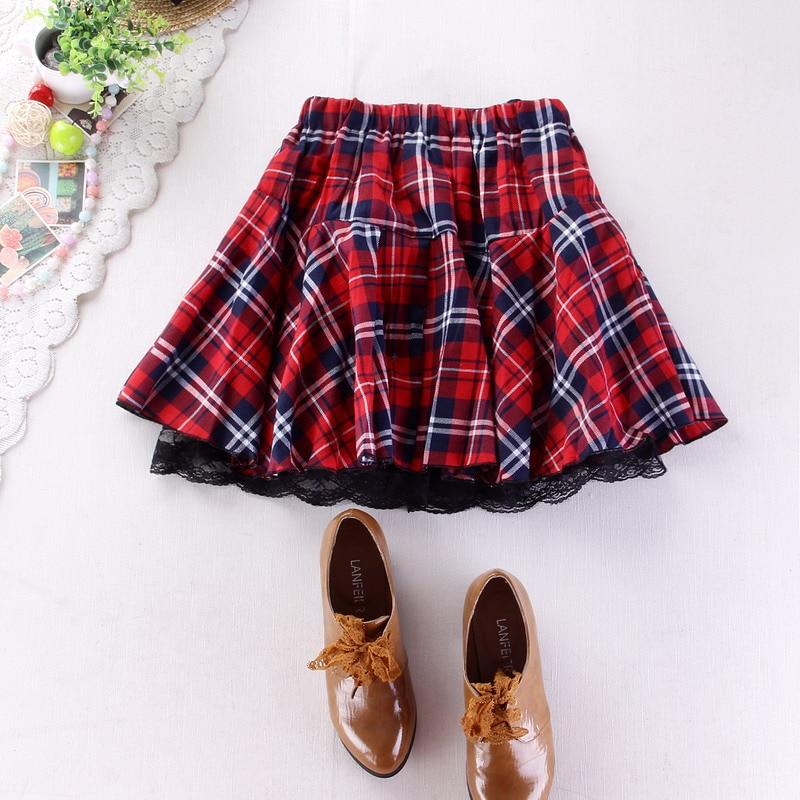 8 colors High quality school uniform skirt fashion plaid short skirt pleated lace skirt student girl Japanese preppy mini skirt 2