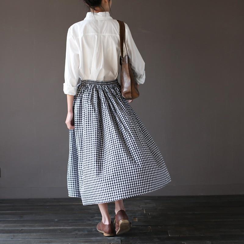Girls Lady Fashion Vintage Linen Cotton Skirts Casual Plaid Long Skirts A Linen Elastic loose Cotton Mori Girl Kawaii Skirts 2