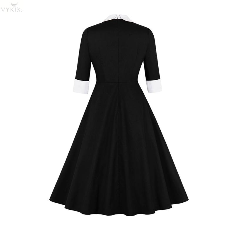 Sweet Hepburn Womens Dresses Autumn Half Sleeves Polo Pin Up With Bow Patchwork Vintage Button Casual Knee-length Party Dresses 2