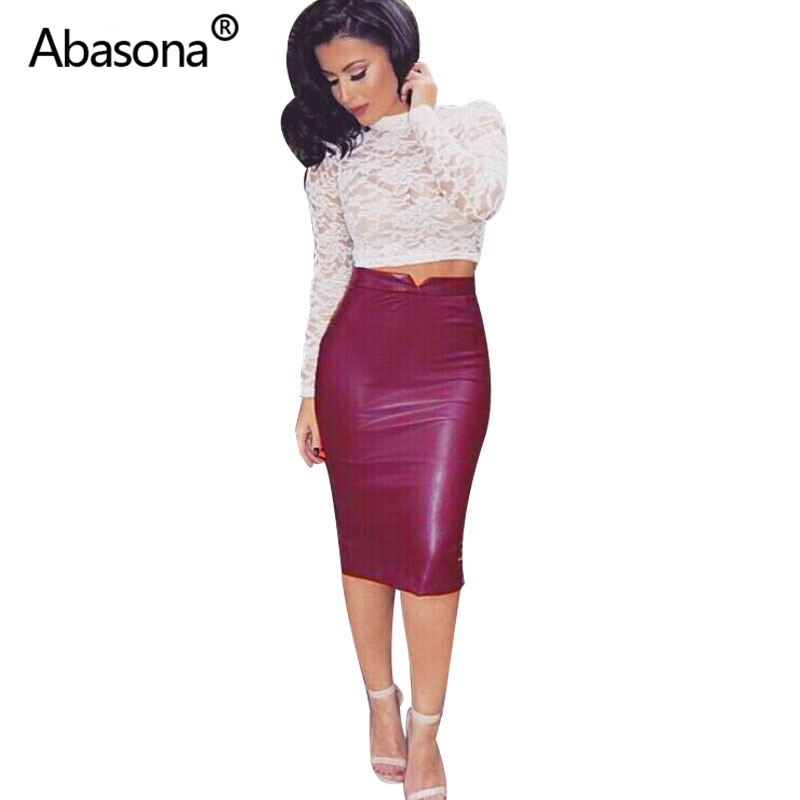 Women Pu Leather Skirt Autumn Streetwear Casual Office Work Wear Bodycon Pencil Skirt High Waist Long Velvet Skirts Women Jupe 3