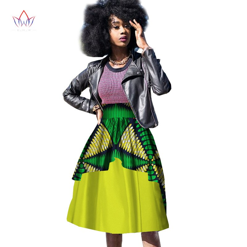 New Bazin Riche African Clothing for Women Dashiki African Wax Print Knee-Length Ball Gown Double Layer Skirt WY10 3