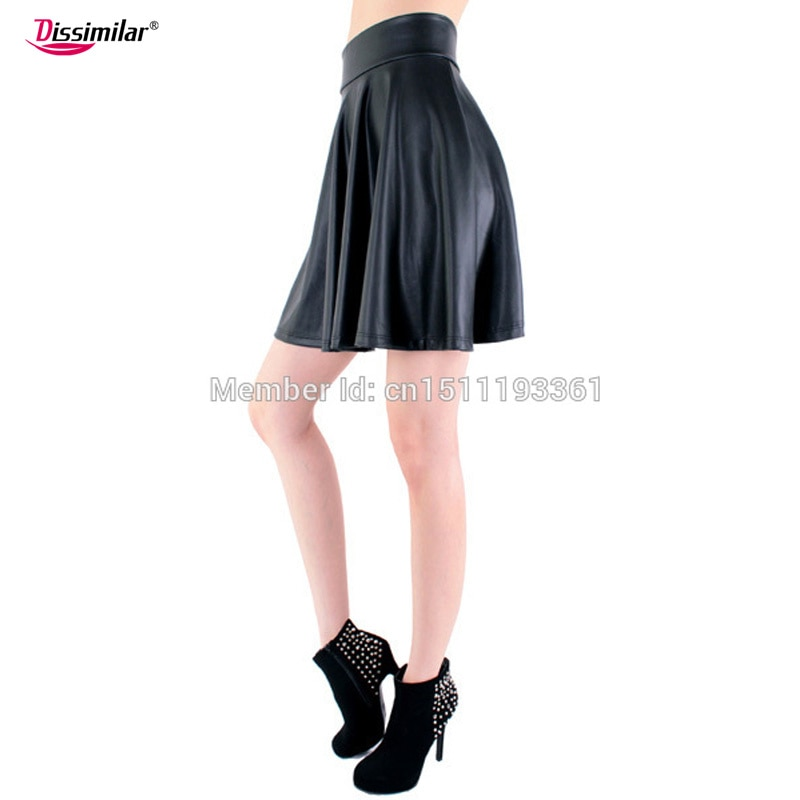 free shipping new high waist faux leather skater flare skirt casual mini skirt knee length solid color black skirt S/M/L/XL 2