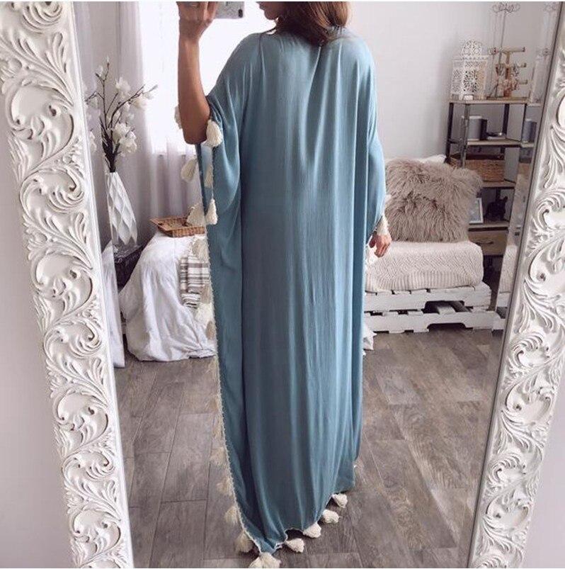 Plus size bohemian half sleeve maxi dress Women casual loose tassels dress Summer 19 straight long dresses robe femme 2