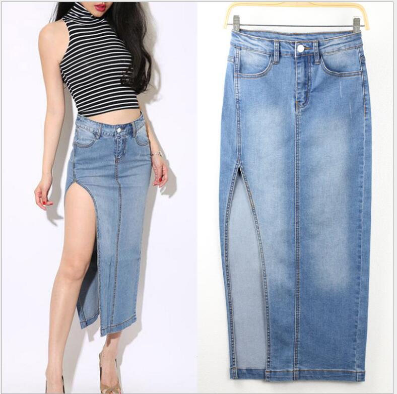 european style sexy high-open split package hip skirt light blue women long denim skirts 1