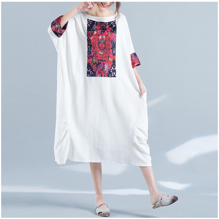 Hot Sale Fashion 19 Summer Women Floral Print Dress Casual Half Sleeve Big Size Dress Loose Ladies Batwing Sleeve Midi Dress 1