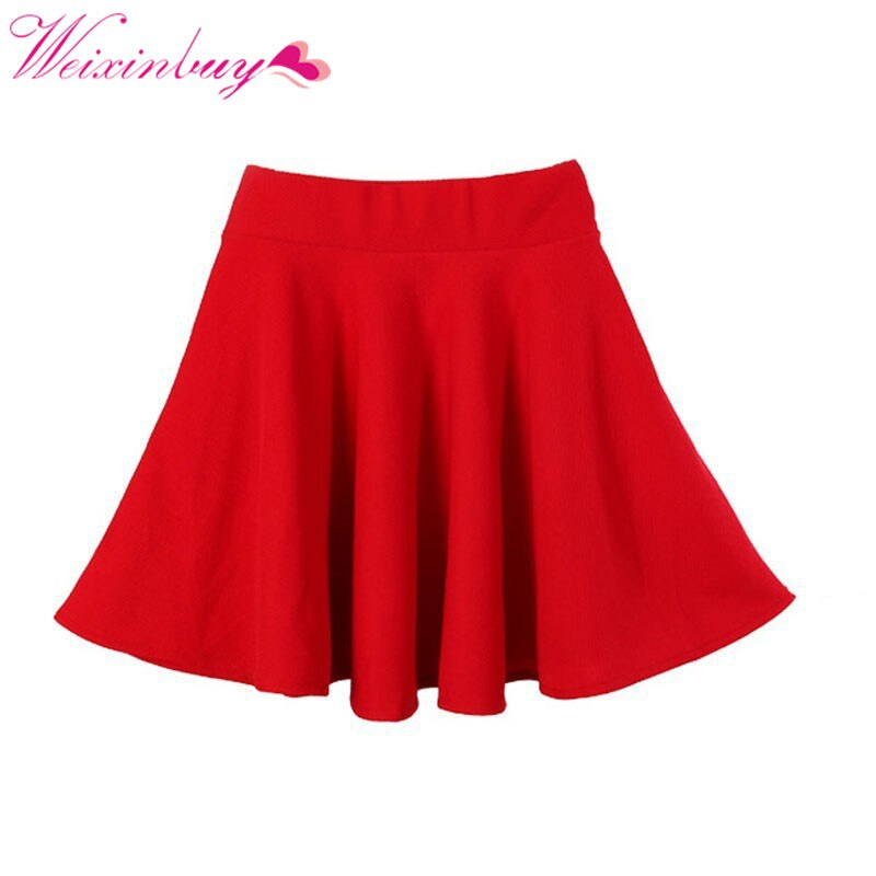 WEIXINBUY Spring New Women Candy Color Casual A-line Flared Mini Circle Short Pleated Women Skirt
