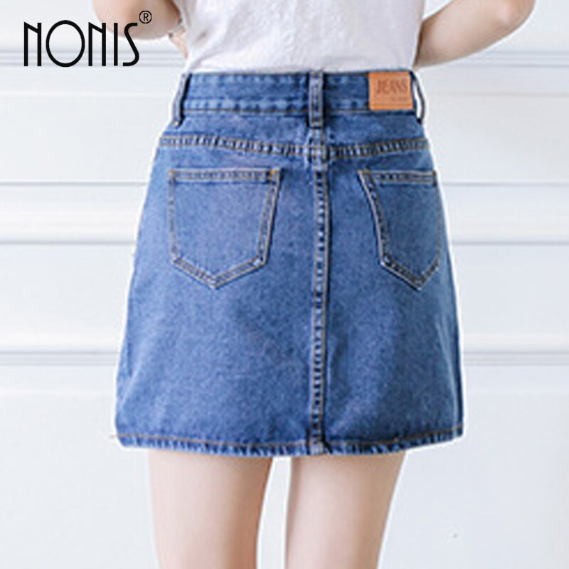 Nonis Basic A-line Retro Academy style Denim Jeans Skirts For Women Spring Summer slim figures New Plus Size femme Skirts 3
