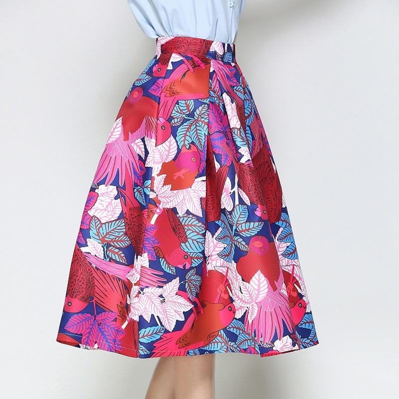 Faldas Vintage 18 Retro Big Swing Red Skirt Print Cartoon A-Line Saias Midi Skirts High Waist Elegant Tutu Pleated Jupe Femme 3