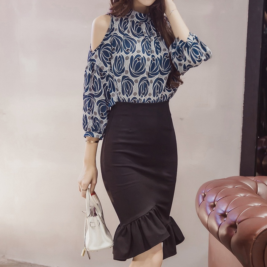 Womens Work Pencil Skirt Knee Length 19 Summer Sexy Elegant Ladies Plus Size Slim Formal Office Bodycon Printed Party Skirts 2