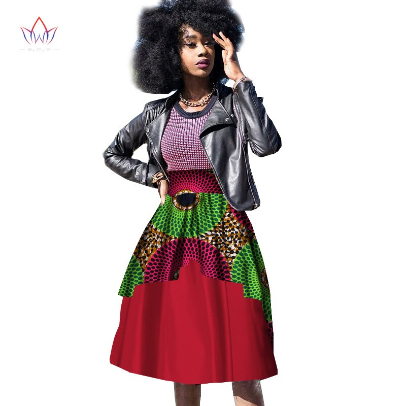 New Bazin Riche African Clothing for Women Dashiki African Wax Print Knee-Length Ball Gown Double Layer Skirt WY10 1