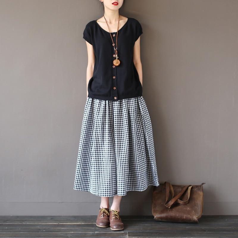 Girls Lady Fashion Vintage Linen Cotton Skirts Casual Plaid Long Skirts A Linen Elastic loose Cotton Mori Girl Kawaii Skirts 3