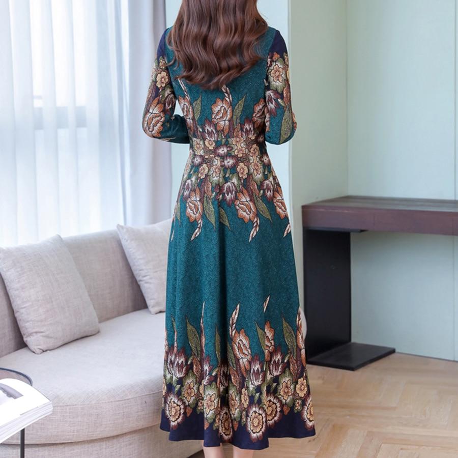 19 autumn new fashion long sleeve temperament slim long dress women casual plus size elegant dresses 2