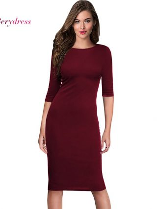 Berydress Women's Work Office Dresses 18 Summer Half Sleeve Knee Length Midi Formal Vestidos De Festa Burgundy Casual Dresses