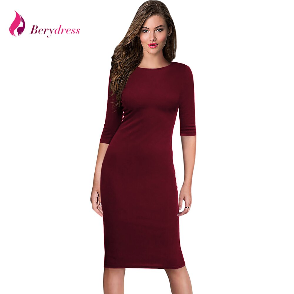 Berydress Women's Work Office Dresses 18 Summer Half Sleeve Knee Length Midi Formal Vestidos De Festa Burgundy Casual Dresses