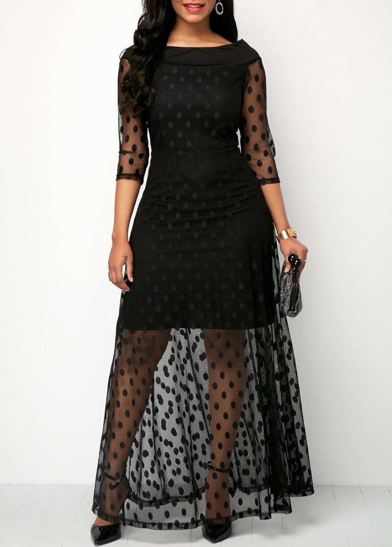 19 Women Elegant Dot Design Mesh Lace Maxi Dress Female Slim Fit Sexy Half Sleeve Casual Long Dresses Streetwear 2