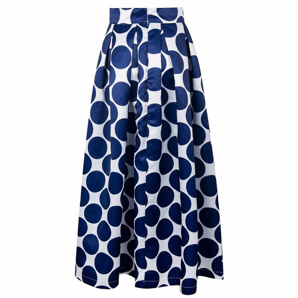 Fashion Vintage Polka Dots Women Long Skirt High Waist Printed Maxi Skirt Casual Elegant Black/Blue/Red Pleated Skirt 2