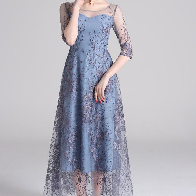 Spring Mesh Patchwork Embroidery Women Dress O Neck Half Sleeve Maxi High Quality Elegant Luxury Dresses Ladies robe longue 3