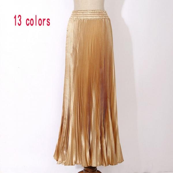 Womens Velvet Long Metallic Pleated Skirt 17 Summer Vintage Casual High Waist Female Soft Retro High Elastic Elegant Ladies