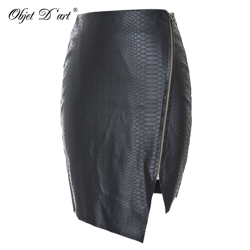 Fashion Women Zipper Up Faux Snake Skin Leather Skirt Polyester Lining Sexy Asymmetrical PU Mini Skirt High Quality For 4 Season 1