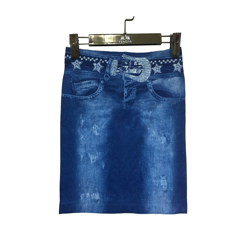 18 Women Summer Imitation denim skirt casual Elegant Sexy High Waist Bodycon Pencil Skirts Lady Elastic slim print Mini D50 1