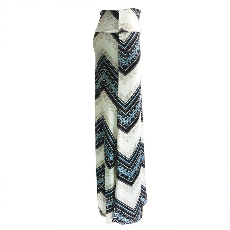 19 new fashion sexy hot casual print empire Women Long Gypsy High Waist Maxi Skirts Stretch Full Length Skirt Oversize 3