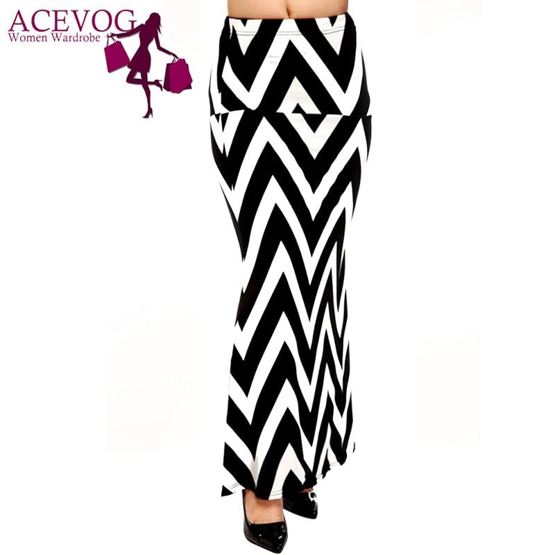 ACEVOG Brand Women Maxi Long Skirt Fashion Ladies Geometric Pattern Casual Stretch Skirt Saia Feminina 4 Seasons 1