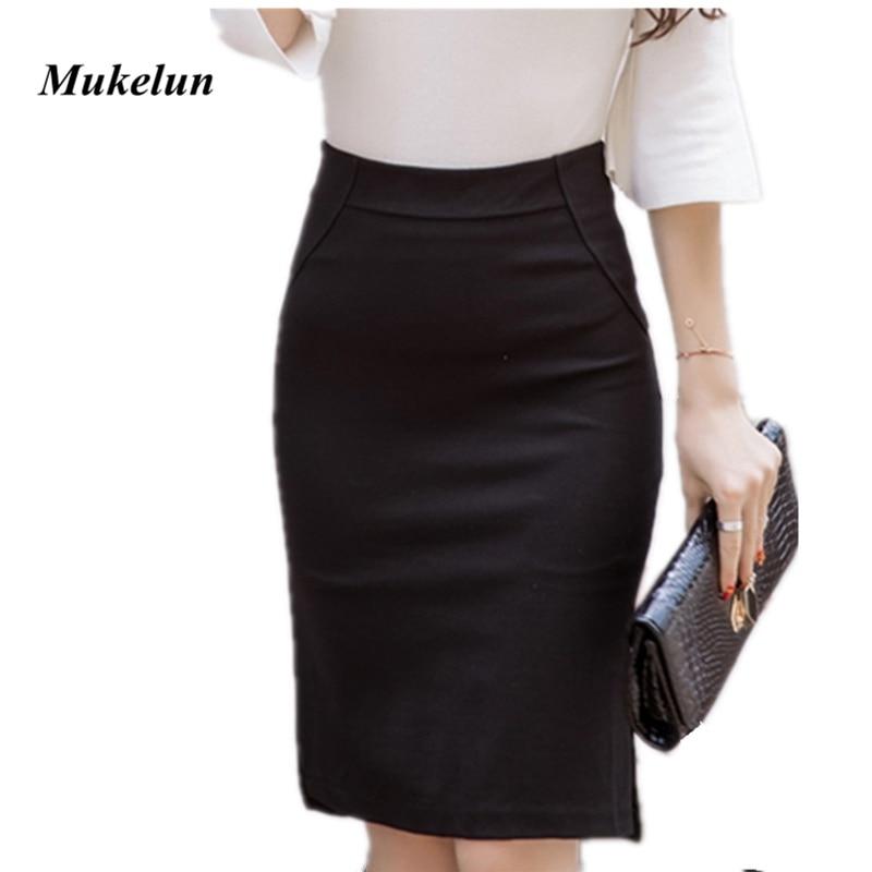 New Fashion Sexy Women Pencil Skirt Casual Slim Summer High Waist Split OL Office Ladies Plus Size Bodycon Work Skirts Black 1