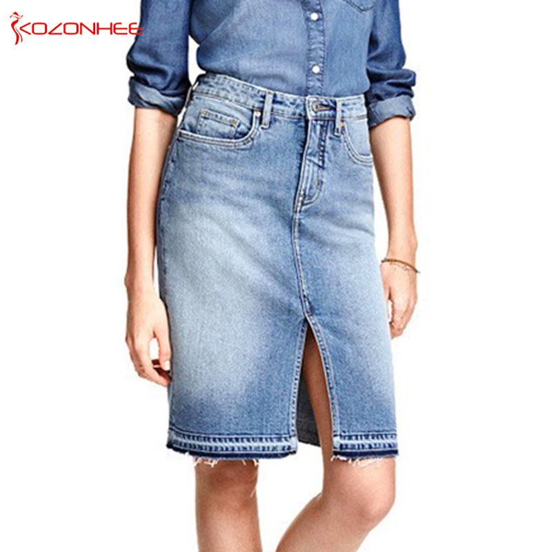 Fashion Denim Skirts Womens 17 Front Slit Summer Jeans Skirt Midi High Waist Women Skirt 1