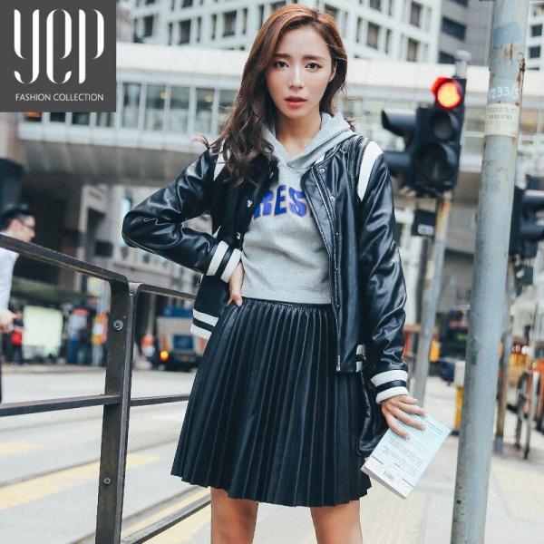 New 17 autumn fashion A type pu leather pleated skirt women elastic waist high quality original black mini skirt women faldas