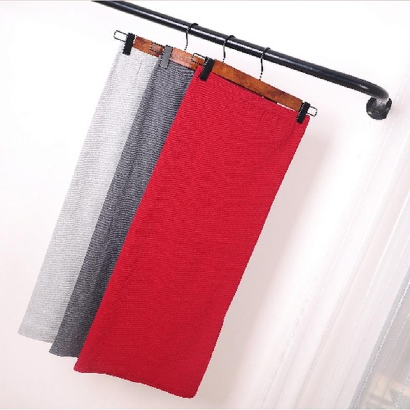 Korean Women Long Skirts High Waist Slim Thin Slit Skirt Saia Longa Rib Tight Package Hip Skirt MY917 2
