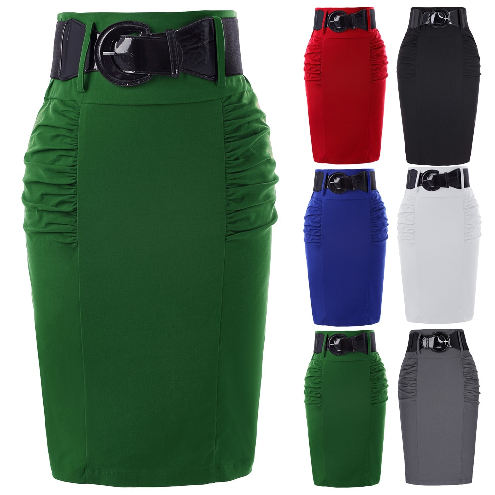 19 Sexy party pencil Skirts Womens Business Work Office Skirt sashes High Waist Elastic Bodycon Slim Fitting Ladies Skirts 3