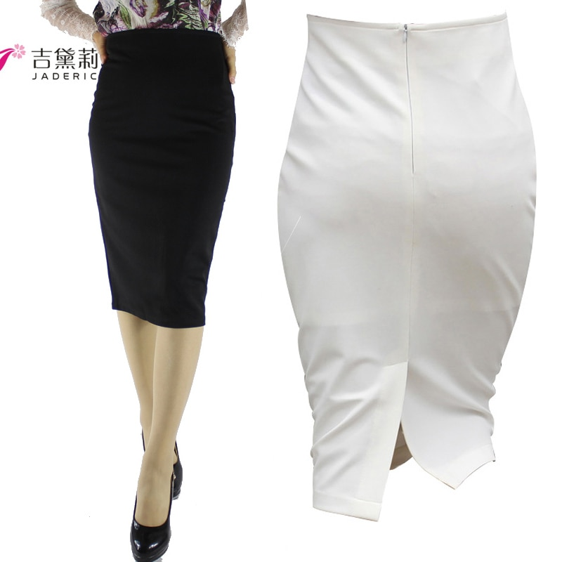 Jaderic Split Vintage Bodycon Skirt High Waist Women Knee Length Pencil Skirt Solid OL Office Elegant Skirts Womens 18 1