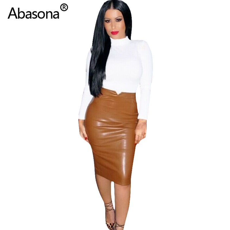 Women Pu Leather Skirt Autumn Streetwear Casual Office Work Wear Bodycon Pencil Skirt High Waist Long Velvet Skirts Women Jupe 1