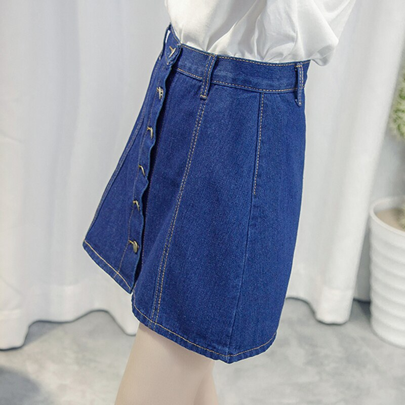 Single-breasted Denim Skirt for Women Vintage High Waist Saia Jeans Feminino Summer Faldas Mini Jupe Female Plus Size Skirts 3