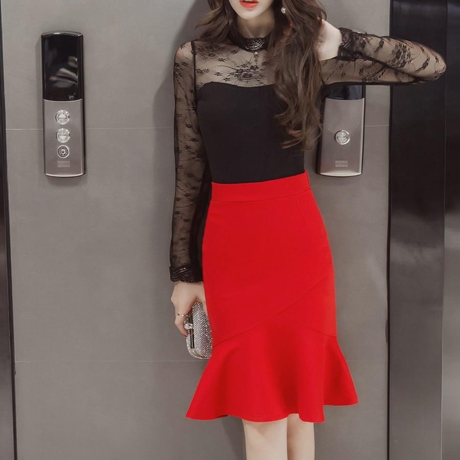 S-5XL 19 Women Pencil Skirt Fashion OL Slim Bodycon Business Wear Ruffles Hem Mermaid Style Plus Size Ladies Office Skirt 3