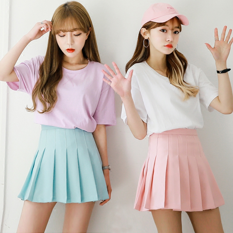 Water color Japanese high waist pleated skirts JK student Girls solid pleated skirt Cute Cosplay school uniform skirt 2