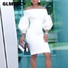 Women Slash Neck Sexy Bodycon Midi Dress Half Lantern Sleeve Knee Length Dress Formal Elegant Party Evening Vestidos