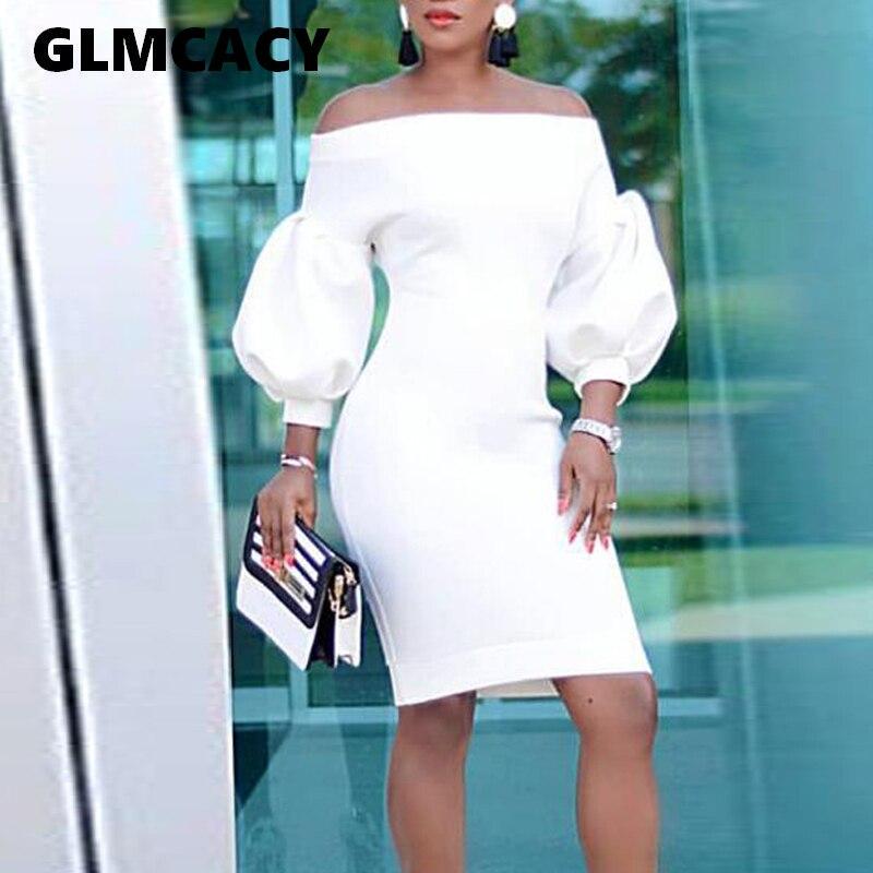 Women Slash Neck Sexy Bodycon Midi Dress Half Lantern Sleeve Knee Length Dress Formal Elegant Party Evening Vestidos